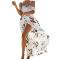 Women S Casual Floral Print Off The Shoulder Strapless Elastic Sleeve Sexy Split Chiffon Maxi Beach
