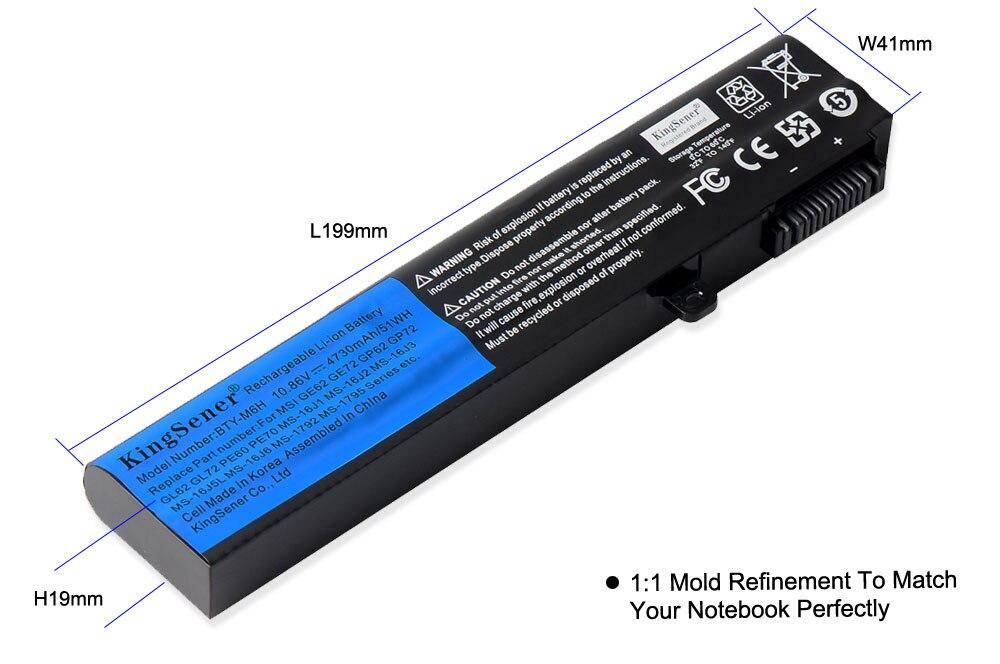 KingSener Corea Cell BTY-M6H Bater/ía Para MSI GE62 GE72 GP62 GP72 GL62 GL72 GP62VR GP72VR PE60 PE70 MS-16J2 MS-16J3 MS-16GF con Garant/ía de 2 A/ños