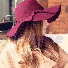 Women Soft Felt Fedora Soft Bell Wide Brim Bow Hat Melon Cap 2018 New KLV
