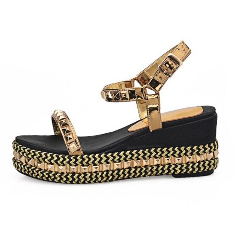 Sangle Or Bohême Taille Fond Cales Plage Cuir Véritable Taoffen Rivet 32 Sandales Épais 43 D'été De Chaussures Femmes Ankel w7xUWpqA
