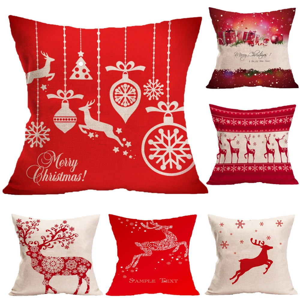 Cotton Linen Cushion Cover Sofa Car Office Home Decorative Pillow Cover New Year Christmas tree ...