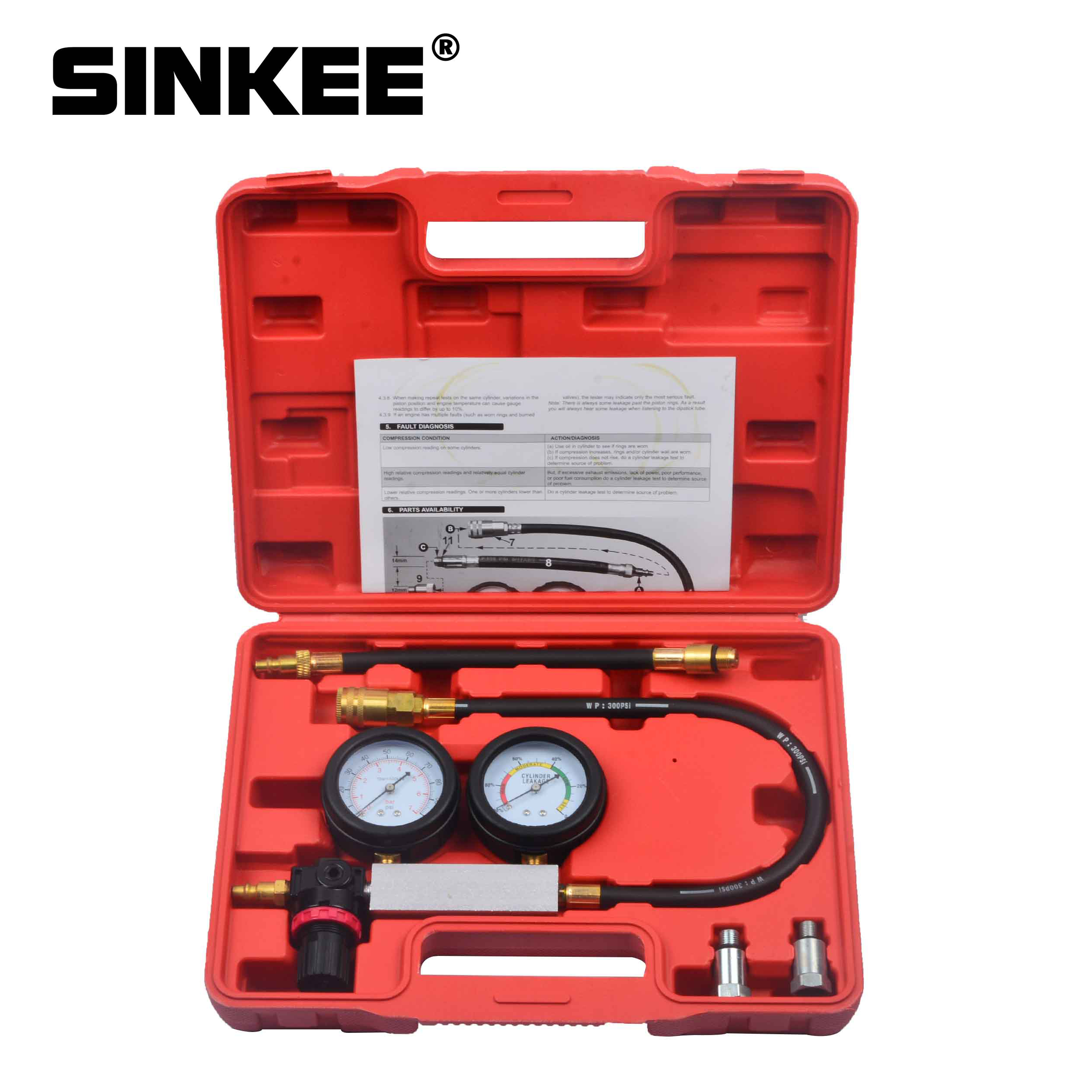 Cylinder Leak Tester Compression Leakage Detector Kit Set Petrol Engine Gauge Tool Double Gauge System Automobile Tools SK1015