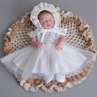Lace Short sleeve Baby Dress with Hat for Toddler Infant Christening Baptism Baby Girl 1st 2nd Birthday Party Dresses