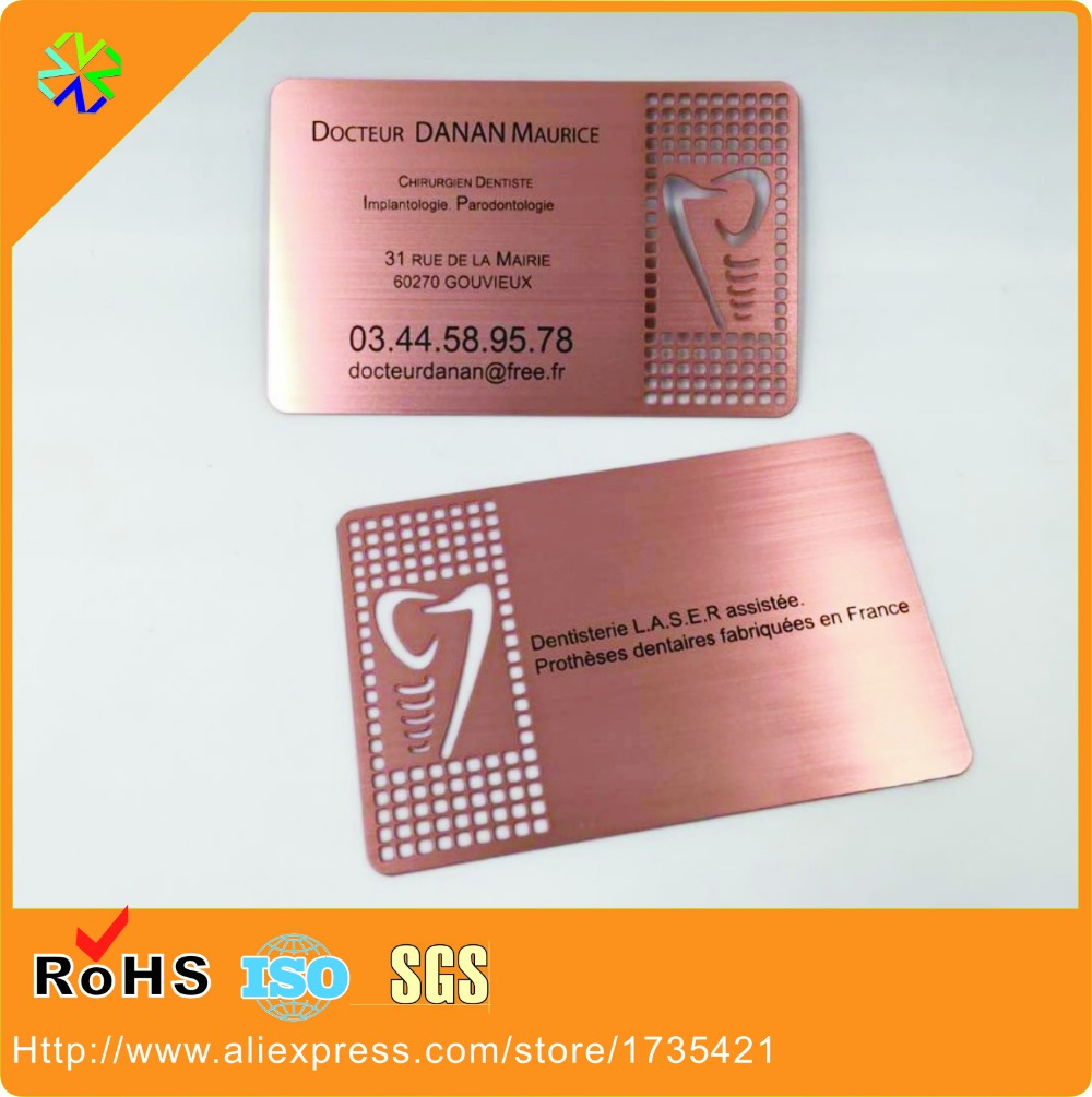 100pcs/lot rose gold both side brushed metal business card with 0.8 ...
