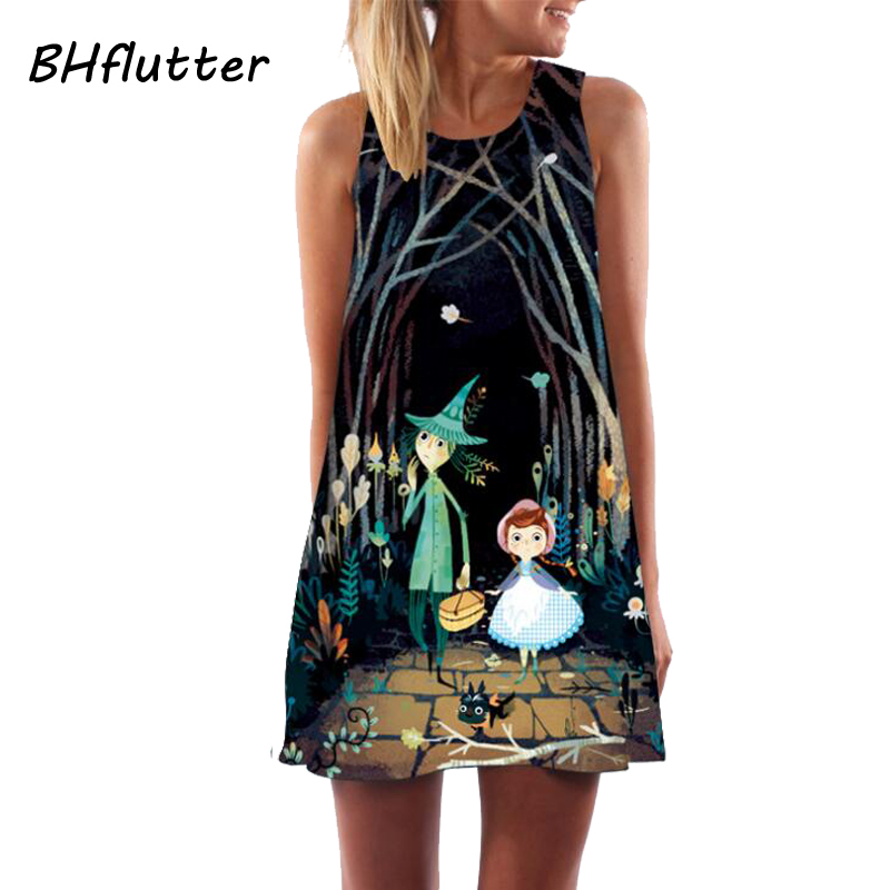 BHflutter Vestito Chiffon 2018 Nuovo Stile Della Signora Abito Corto Senza Maniche Summer Dress Casual Stampa Floreale Vestiti Donna Abiti