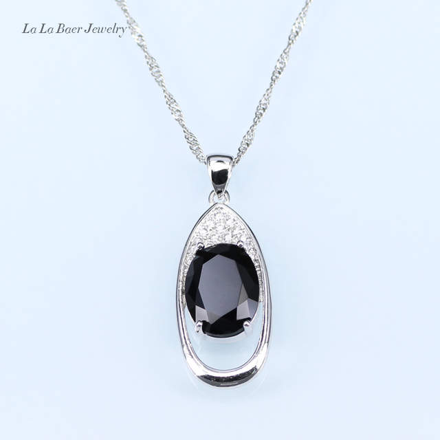 3bf38ac49e Black stone White Rhinestone Huge Round silver 925 Jewelry Sets For Women  Drop Earrings/Pendant/Necklace/Ring