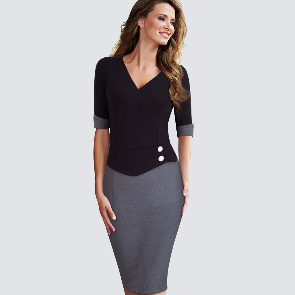 Elegant Women Work Wearing Patchwork V Neck Sheath Pencil Office Dress Casual Business Buttons Short Sleeve Bodycon Dress HB364