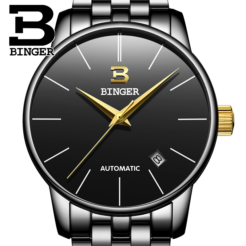 Switzerland BINGER Luxury Men Watches Self Black Wristwatch Date High Quality Waterproof Automatic Hodinky Mechanical Watches fngeen luxury men watches self winding tourbillon wristwatch date high quality waterproof automatic hodinky mechanical watches page 6