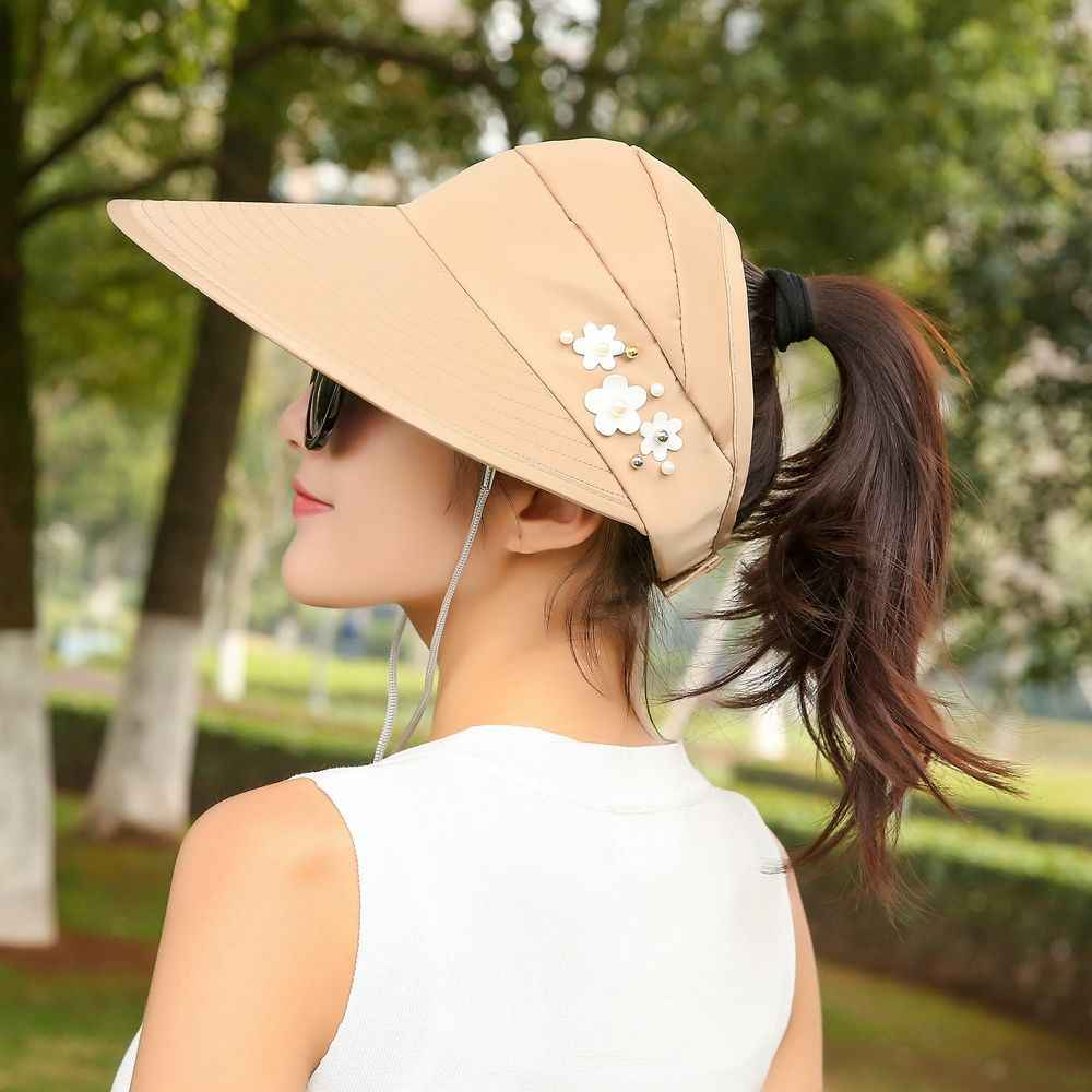 9f9da8a55 1PC Women Summer Sun Hats Lady UV Protection Hats Female Sun Visor Hat With  Big Heads Wide Brim Beach Camping Cap