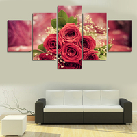 Cuadros Decoracion Painting By Numbers 5pcs Wall Art Rose Flower Modern Hd Picture Home Decor Living