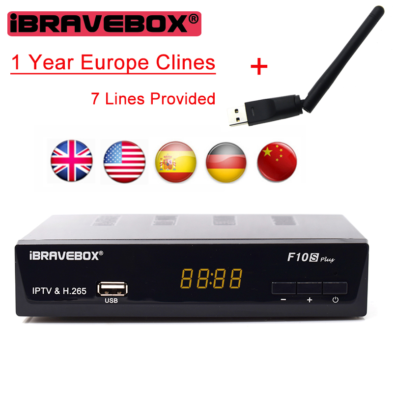 H.265 DVB-S2 iBRAVEBOX F10S PLUS 1 Year Europe C-line Server HD Support Satellite Receiver Italy Spain Arabic With Wifi