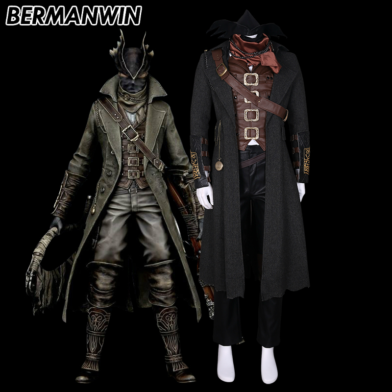 BERMANWIN High Quality Hot Game Bloodborne The Hunter Cosplay Costume Full Set Halloween Cosplay Costume for adult men