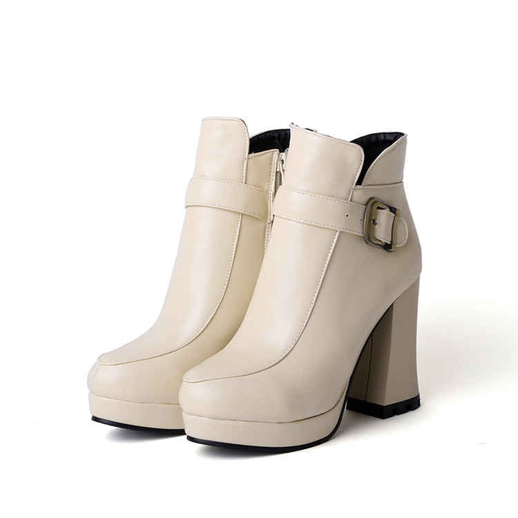 ФОТО Botas Mujer Big Size New Round Toe Buckle Boots For Women Sexy Ankle Heels Fashion Winter Spring Autumn Shoes Casual Zip T730-1