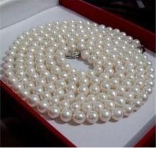 2015 Perfect Akoya blanco 6 – 7 mm concha de perla collar de perlas de cuerda cadena grano de la perla piedra Natural 36 pulgadas ( pedido mínimo Order1 )