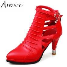 Aiweiyi 2017 mujeres bombas de verano negro zapato de las señoras delgadas talón Dedo Del Pie Acentuado PU de Cuero Con Cremallera Mujer Zapatos de Boda del Tamaño 34-43