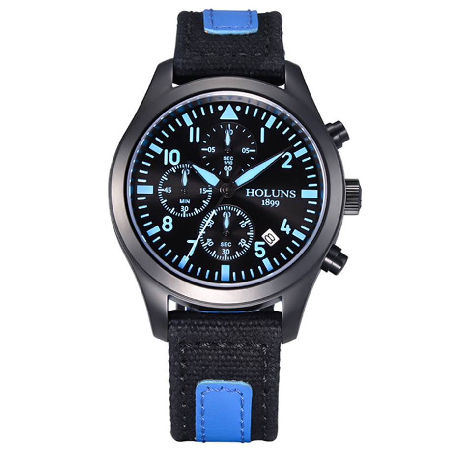 HOLUNS Military Watches Men's Wristwatch  Canvas Watchband Stop Watch Luminous Army Sport Quartz Watch reloj de los hombres parnis pilot iiv seriers luminous mens silicone leather watchband army sport chronograph quartz watch wristwatch