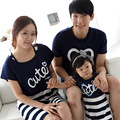 Summer Style Family Set Clothes Cotton Letter Printing Short-Sleeve Shirts Matching mother daughter Striped Dress Sets