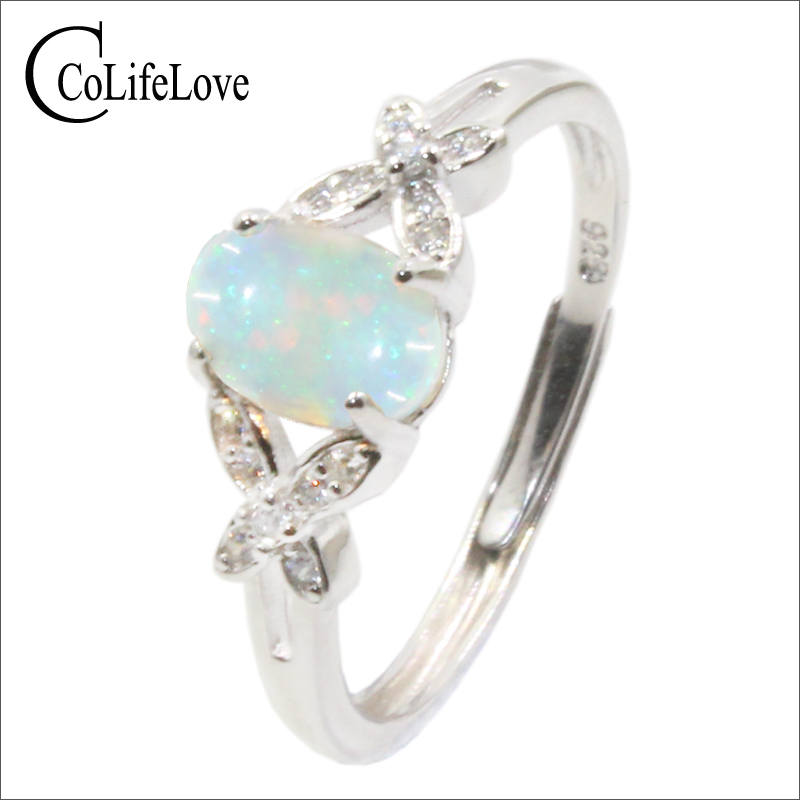 CoLife Jewelry 100% Natural Opal Ring For Woman 0.3ct 0.4ct 0.6ct Australia Opal Silver Ring Solid 925 Silver Opal Jewelry