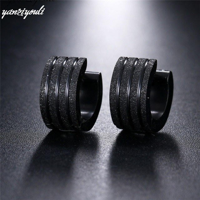 1 Pair Women Men Round Frosted Black Gold Stainless Steel Stud Earrings for Male Christmas Earring.jpg 640x640 - 1 Pair Women Men Round Frosted Black Gold Stainless Steel Stud Earrings for Male Christmas Earring Jewelry Boucles D'oreilles