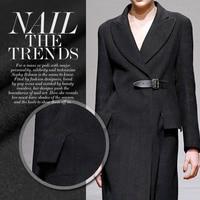 Classic Black Australian Wool Fabric For DIY Overcoat Heavy Cloth 155CM 100CM