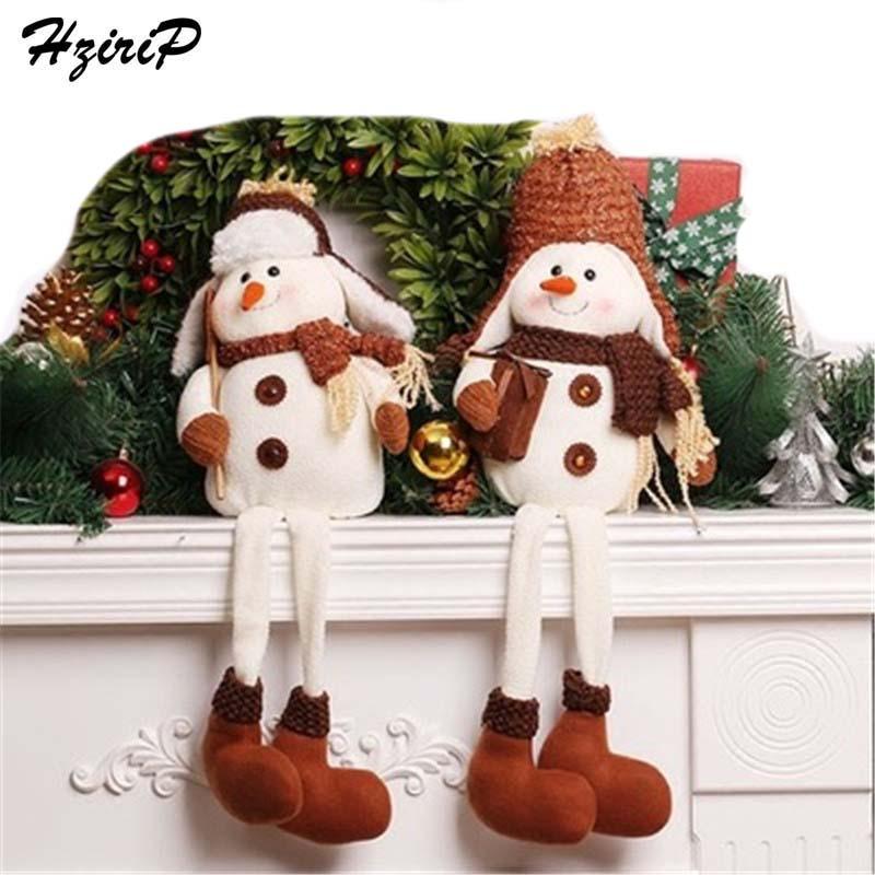 HziriP 1Pcs Snowman Sitting Dolls Toys Christmas Desktop Decorations Model Plush Ornaments Kids Christmas Best Gifts Toy