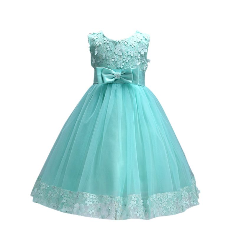 Cute Flower Bow Kids Girl Dress Prom Princess Party Dresss Children Summer Clothing ...