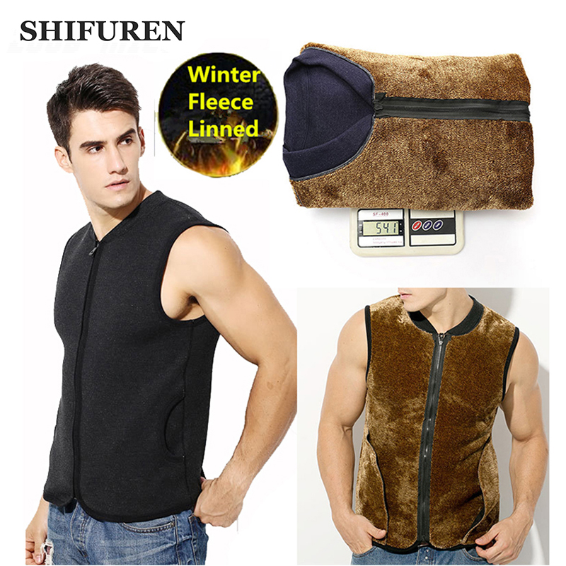 SHIFUREN New 2016 Winter Men Thicken Fleece Tank Tops Warm Underwears Thermal Velvet Sleeveless Vest Plus Size XL XXXL