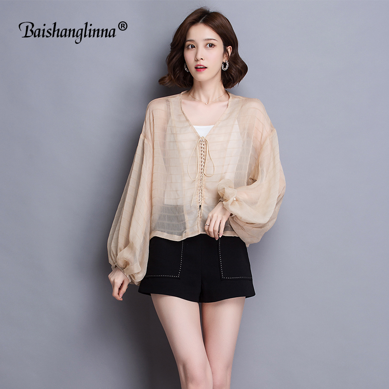 Baishanglinna summer women Blouses sexy onesize long sleeve women chiffon blusas mujer de moda 2018 bow solid color shirt new