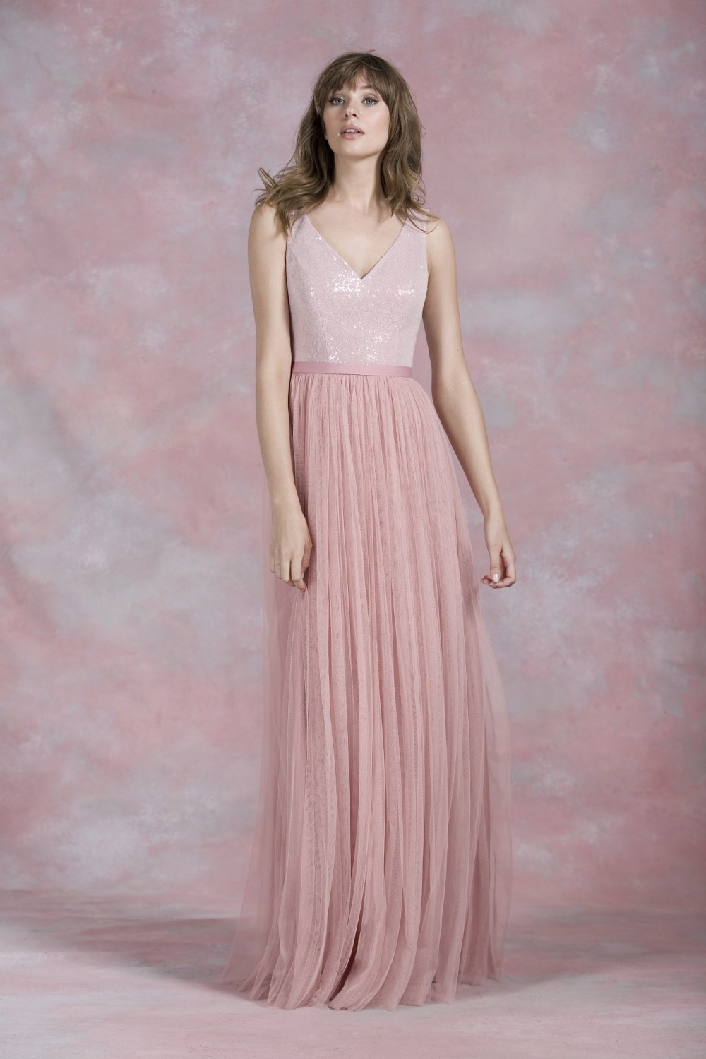 Romantic Pearl Pink V Neck Girl Formal Party Dresses Sequin and ...