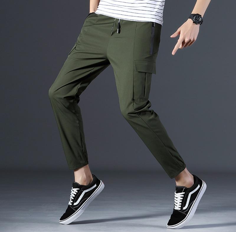 2018 летние штаны для повседневной носки Для мужчин Ankcle Длина одноцветное Цвет карандаш брюки Модные Военные Армейский зеленый пот Штаны для ... ...