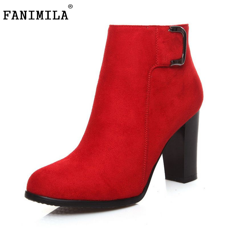 Autumn And Winter Short Cylinder Boots High Heels Shoes Martin Women Mid-Calf Side Zipper Boots Thick Scrub Size 33-42