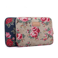 "Leinwand Pfingstrose Blume 8 10 ""12"" 13 ""14"" 15 ""15,4"" 15,6 ""Laptop Sleeve tasche Pouch Notebook Fall Für Asus HP Macbook(China)"