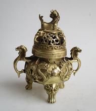 Art Collection Chinese brass 2 dragon Incense Burner /Metal Decoration Crafts  Censer  Free shipping