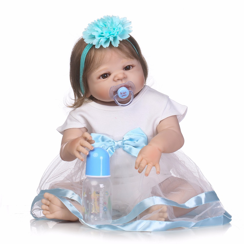 22 inch 55 cm Silicone reborn dolls,  sky blue, white skirt, beautiful doll, holiday gift blue sky чаша северный олень