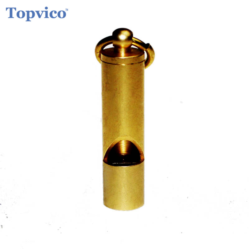 Topvico Vintage Brass Whistle Loud Wilderness Outdoor Rescue Survival Whistle Personal Protection Tool Self Defense Supplies