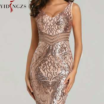 YIDINGZS New Sequins Evening Dress Women See-through Beads Long Evening Party Dreess YD621