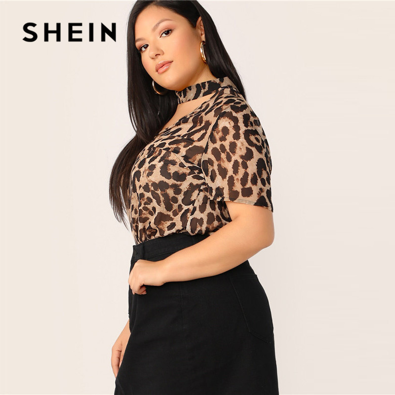SHEIN Plus Size Choker Neck Leopard Print Top Blouse 2019 Women Summer Classy V neck Cut Out Short Sleeve High Street Blouses 2
