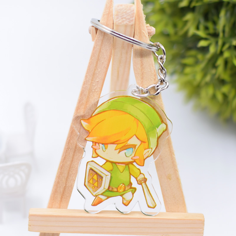 The Legend of Zelda Keychain Cute Double Sided Link Key Chain Pendant Acrylic Anime Accessories Cartoon Key Ring DBS1P double ring letter link chain pendant necklace