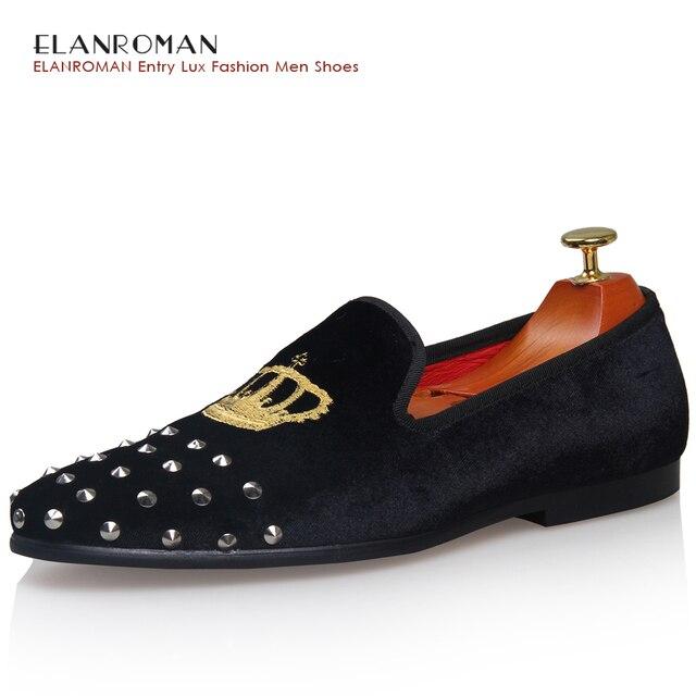Nuevo Hecho A Mano de Plata de Terciopelo Remache Zapatos Hombres Zapatos  Del Holgazán Estrés Caballero 19787511f8b2