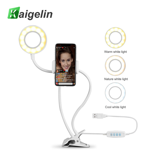 Flexo LED Desk Lamp Dimmable Multi-Color Ring Light Table Lamp With Cell Phone Holder For Live Stream Makeup