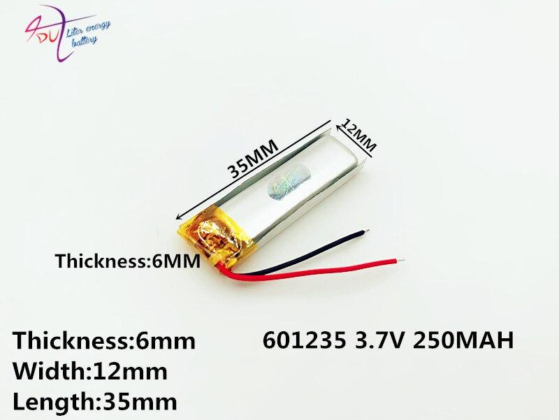 10 Pcs Ein Produkt, 3,7 V Lithium-batterie 601235 061235 250 Mah Lidschatten Stift Video Recorder Transkript 37 V Batterie