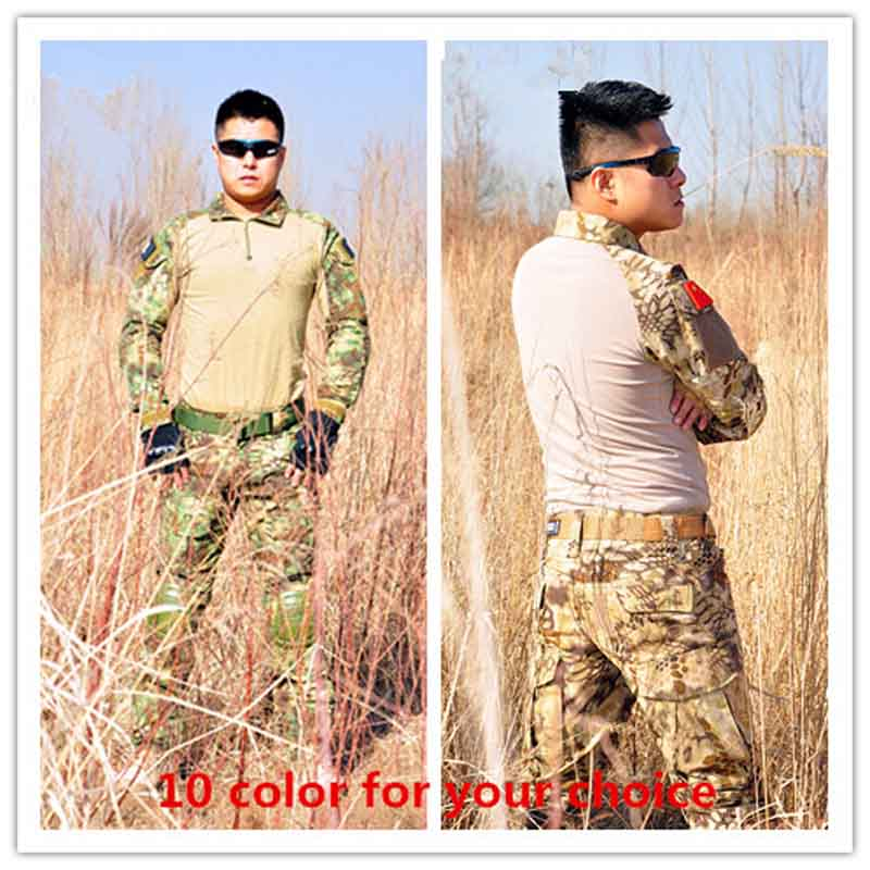 New Military Camouflage Army Unifrom Combat Shirt With Knee Elbow Pads Airsoft Sniper Tactical Suit Paintball Hunting Clothing airsoft adults cs field game skeleton warrior skull paintball mask