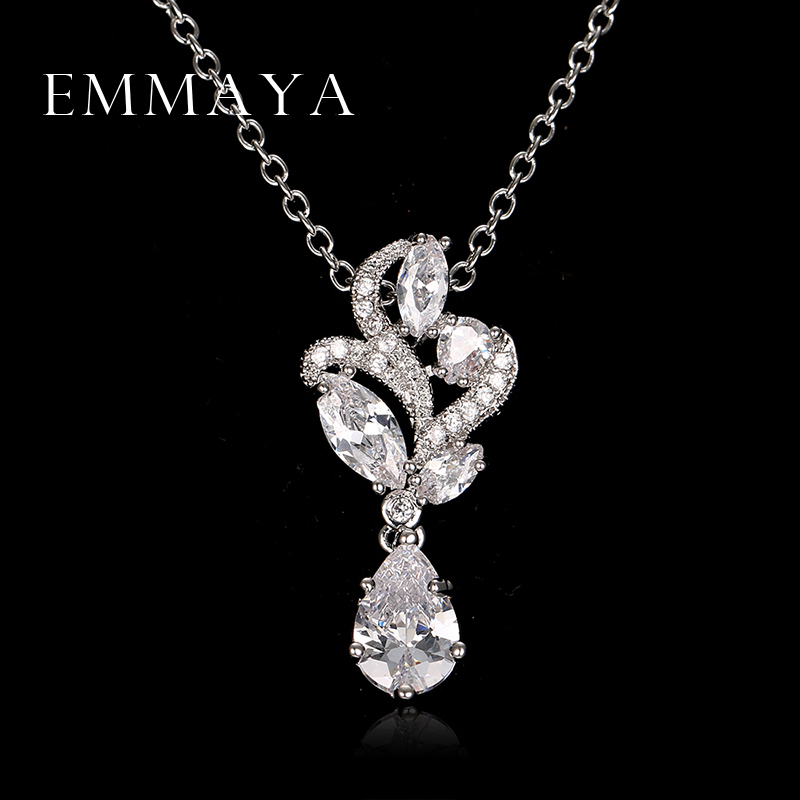 Emmaya 2017 Spring Necklace Pendant Women AAA Zircon Crystal Necklaces White Crystal Romantic Pendants Jewelry