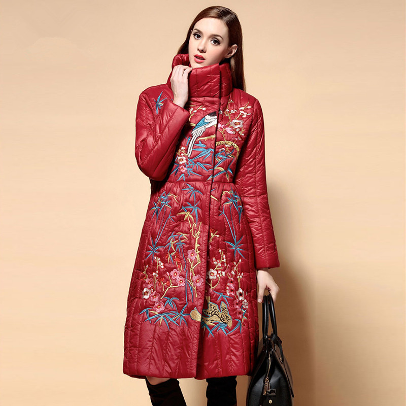 Womens coat 2016 Red Blue And Black Embroidery Long sleeves Ladies coats Quilted Cotton jacket Long winter coats
