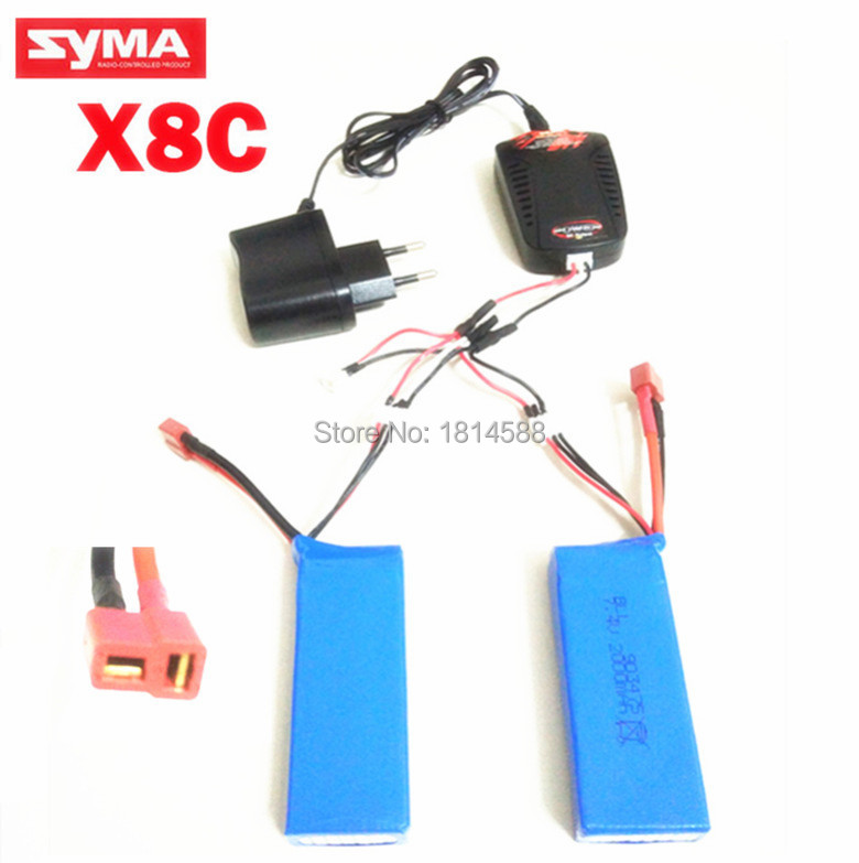 2PCS battery and charger Syma X8 X8C X8C-1 X8W 7.4V 2000mAh axis remote control aircraft spare lithium-polymer battery for syma x8sw x8sc remote control helicopter 3pcs battery and the us regulatory charger with 1 care 3 conversion line