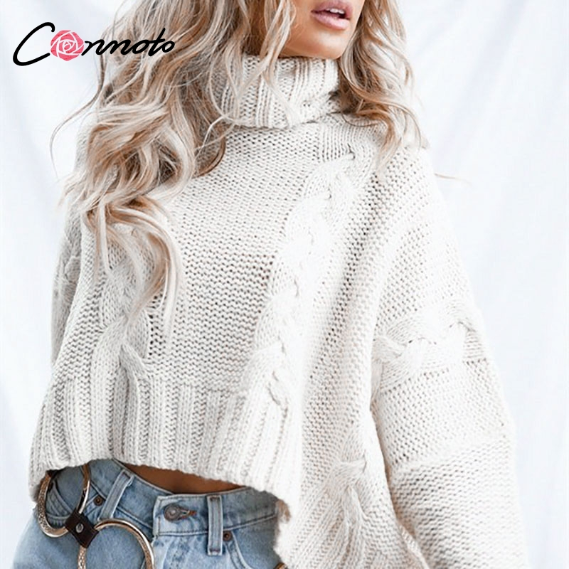 Image 2 - Conmoto Harajuku Turtleneck Crop Sweater 2018 Autumn Winter Long  Sleeve Thick Solid Oversized Pullover White Kintted JumperPullovers