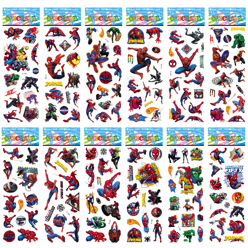12 Sheets/set Super Hero Spiderman Stickers Toys 3D Puffy Bubble Sticker Scrapbook Spider Man For Kids Boys Gift