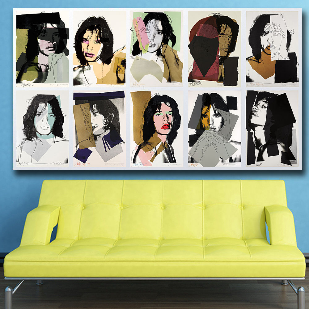 Mklql Mick Jagger 10 By Andy Warhol Wall Art Canvas Painting For ...