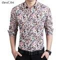 Envío Gratis hombres de la Marca Camisas de Vestir de Moda Impreso Floral de Manga Larga Camisa de Algodón Delgado Más tamaño: m-5xl 7 colores