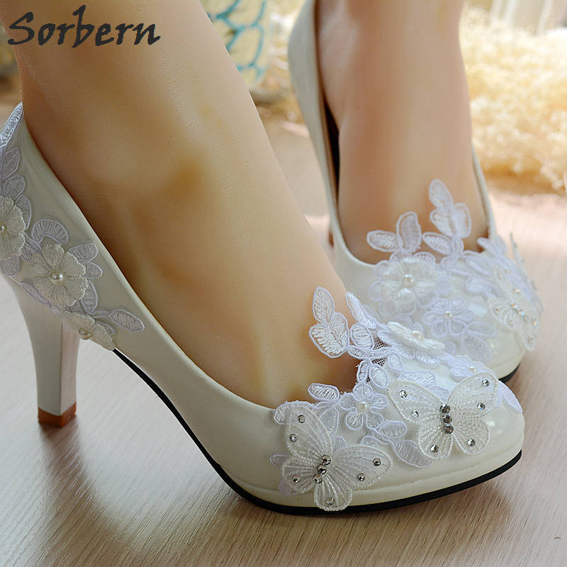Sorbern Butterfly Beaded Women Shoes White Lace Wedding Shoes 4.5Cm/8Cm High Heels Shoes Sweet Pumps Princess Party Heels lace butterfly flowers laser cut white bow wedding invitations printing blank elegant invitation card kit casamento convite